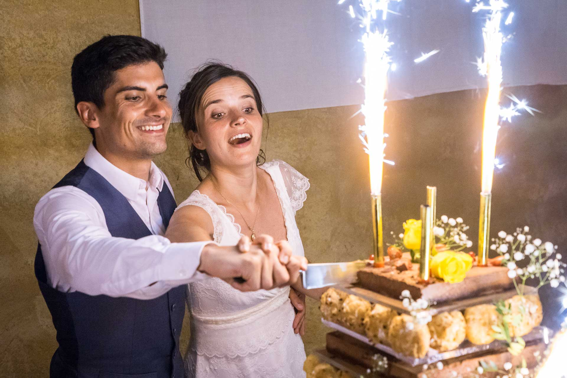 les mariés coupent le gâteau de mariage